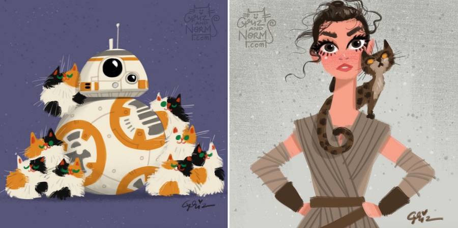 Star Wars Characters With Cats Illustrations