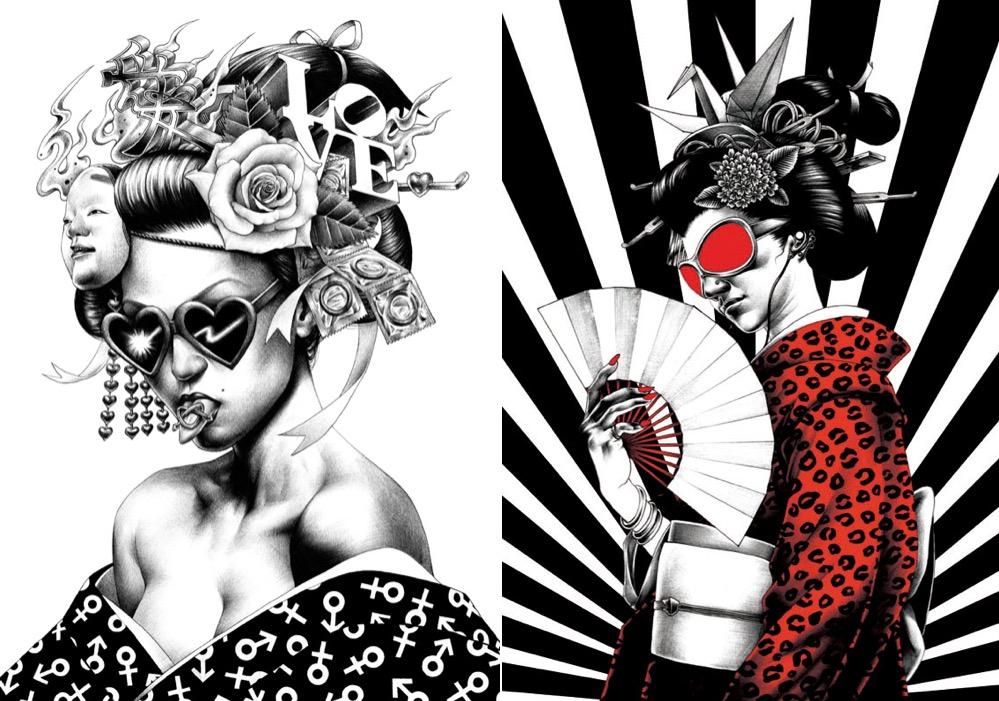Ilustracoes escuras e fotorealistas feitas com caneta esferografica