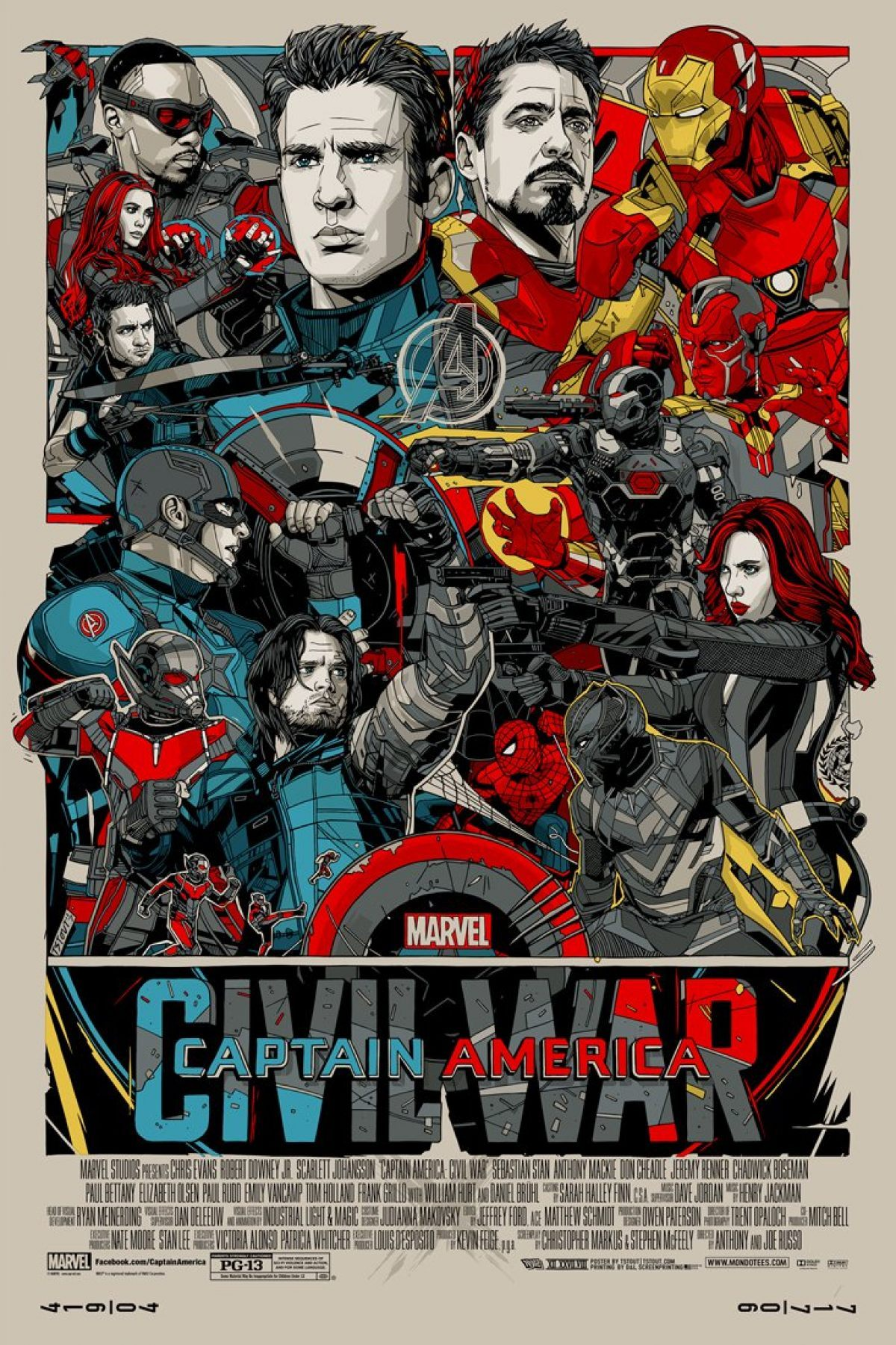 Tyler Stout is Back With an Amazing Captain America: Civil War Print for Mondo ! (3 pics)