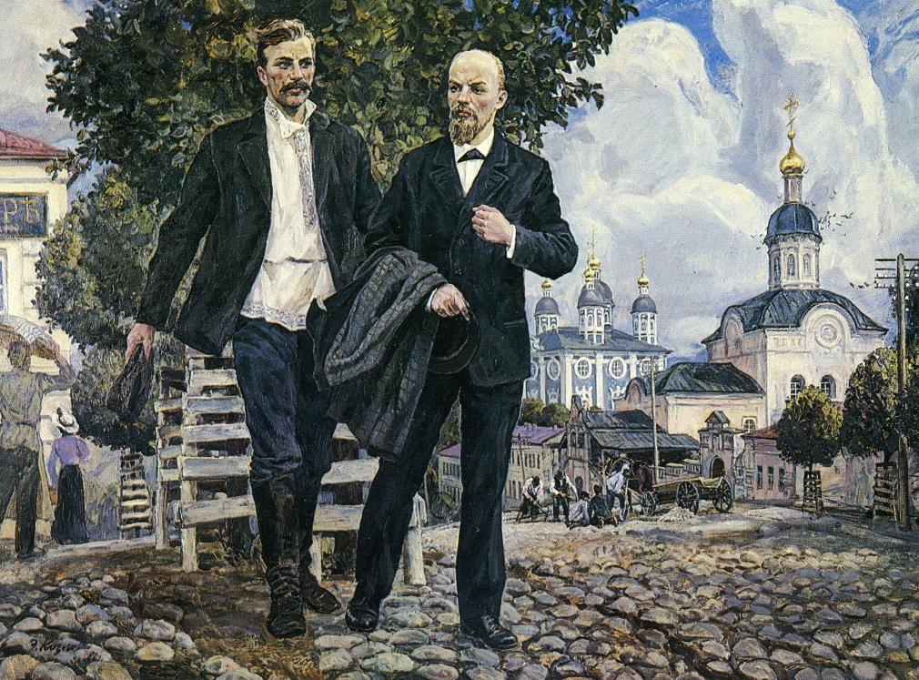 Э. В. Козлов. «В. И. Ленин и И. В. Бабушкин в Смоленске» (Ленин приезжал в Смоленск в июле 1900)