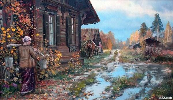图片-俄罗斯画家弗拉基米尔·伊万诺夫的郊外系列田园插画作品part.2(oi22.com)