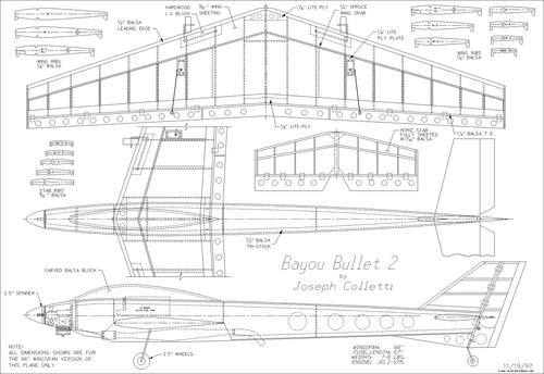 Чертеж модели самолёта Bajou Bullet 2