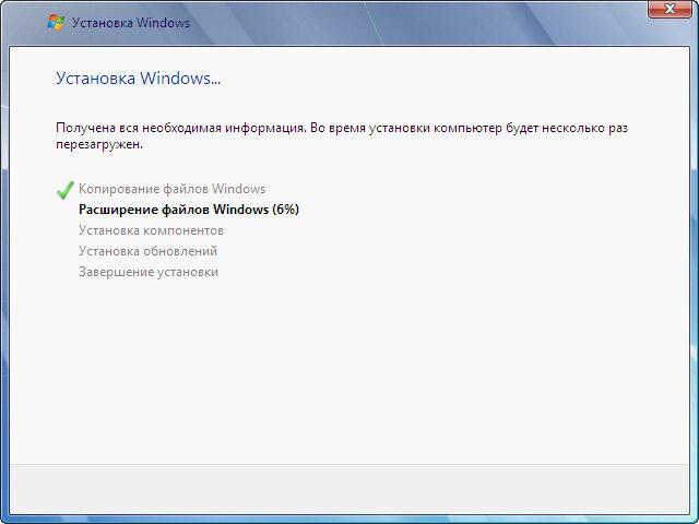 Рис. 2.5. Процесс установки операционной системы Windows 7