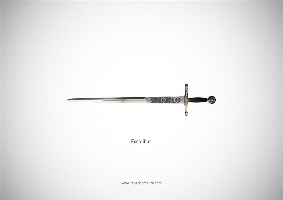 Знаменитые клинки, ножи и тесаки культовых персонажей / Famous Blades by Federico Mauro - Excalibur