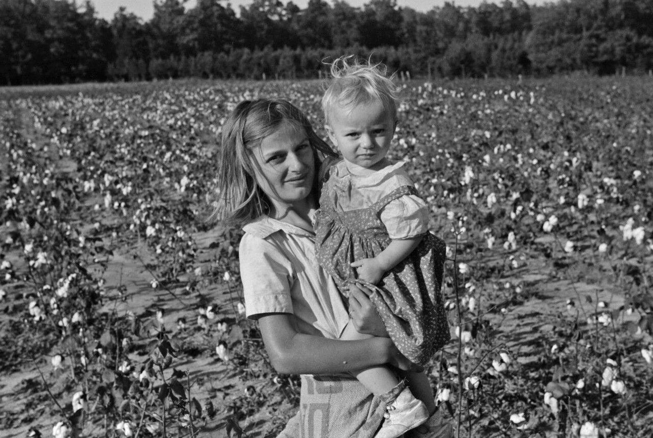 Ребенок на хлопковой плантации, Стейтсвиль, Северная Королина, 1939