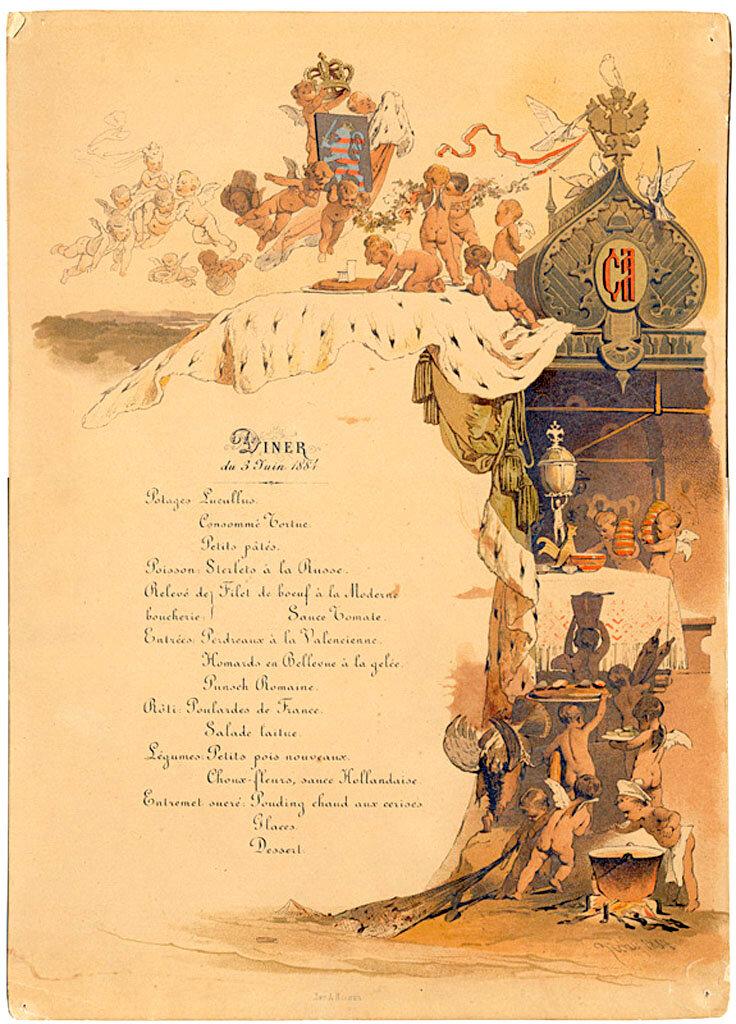 Меню обеда 3 июня 1884 г. в честь бракосочетания Великого князя Сергея Александровича с принцессой Елизаветой Гесенской