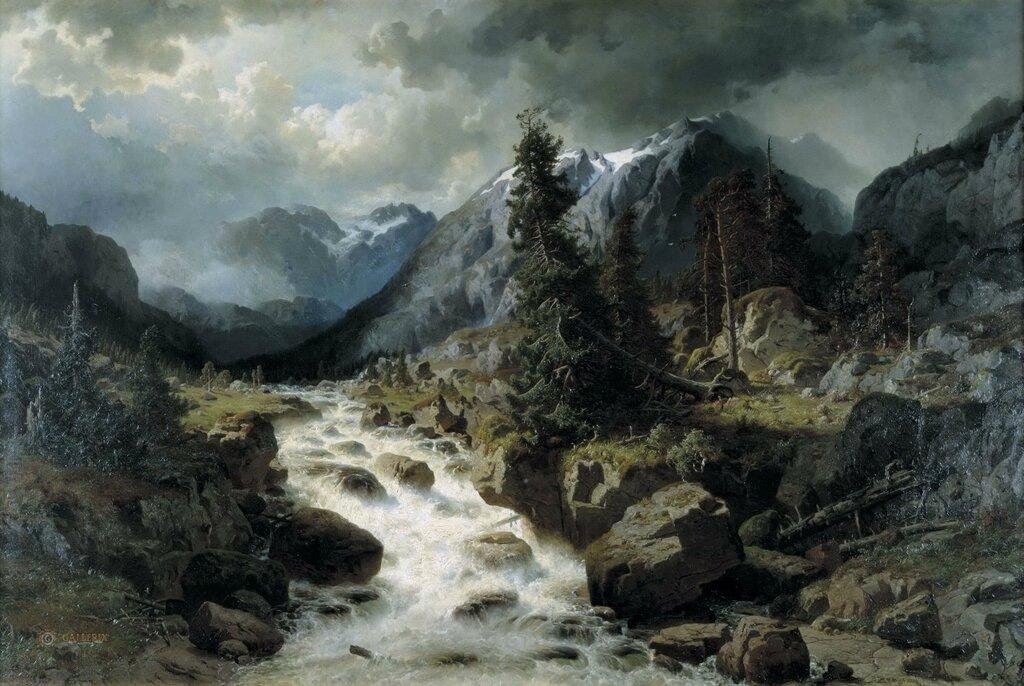 Йохан Эдвард Берг: Пейзаж с водопадом из кантона Ури, Швейцария