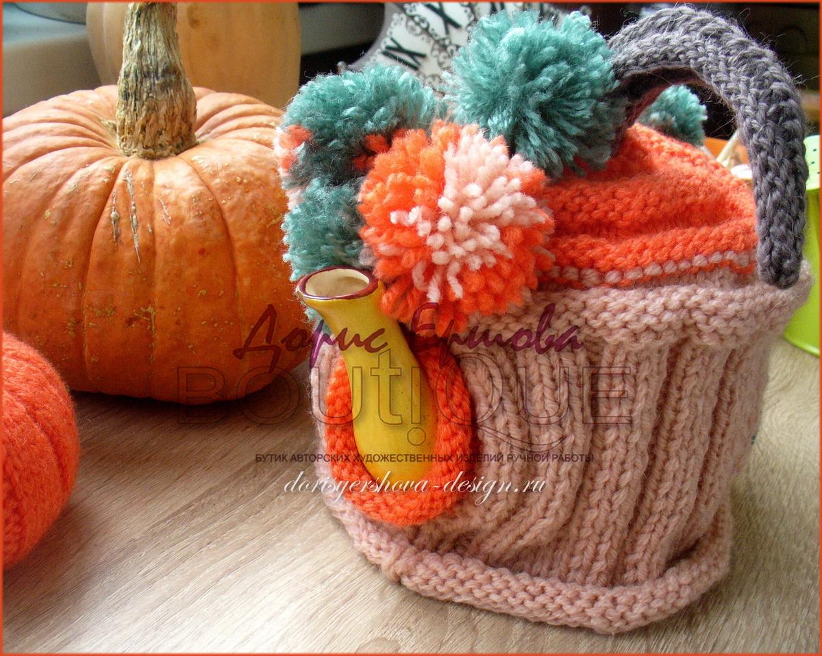 грелка на чайник в тыквенных цветах. Авторский дизайн Дорис Ершовой