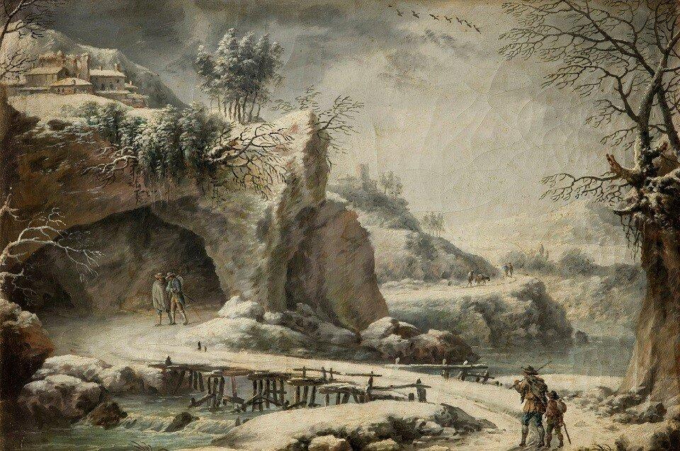 Речной пейзаж с фигурами (A Frozen River Landscape With Figures)_38.5 х 26.5_х.,м._Частное собрание_обработано.jpg