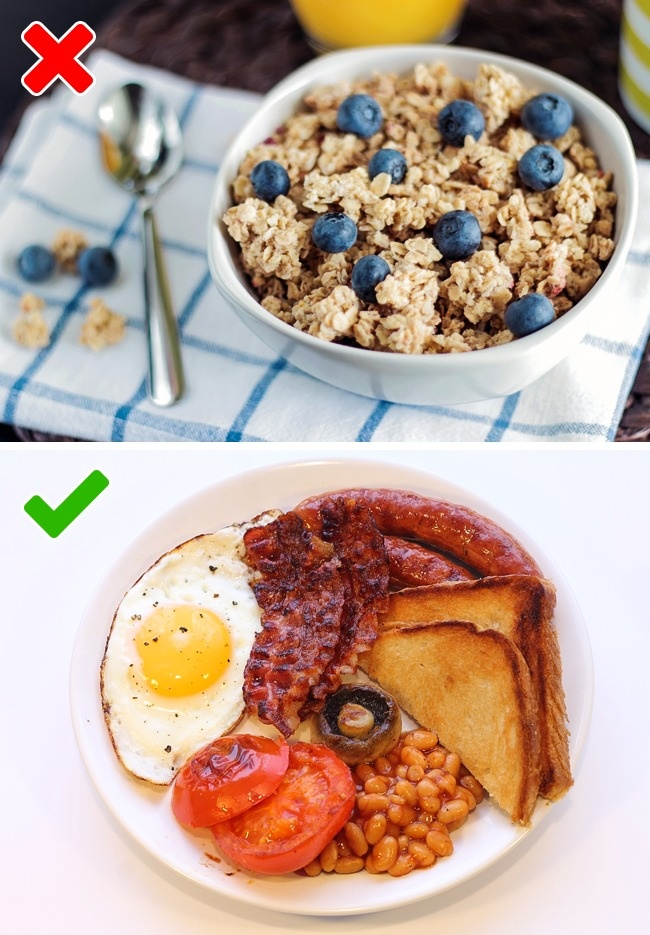 Традиционный английский завтрак — это совсем не каша. На самом деле в него входят яичница, сосиски,