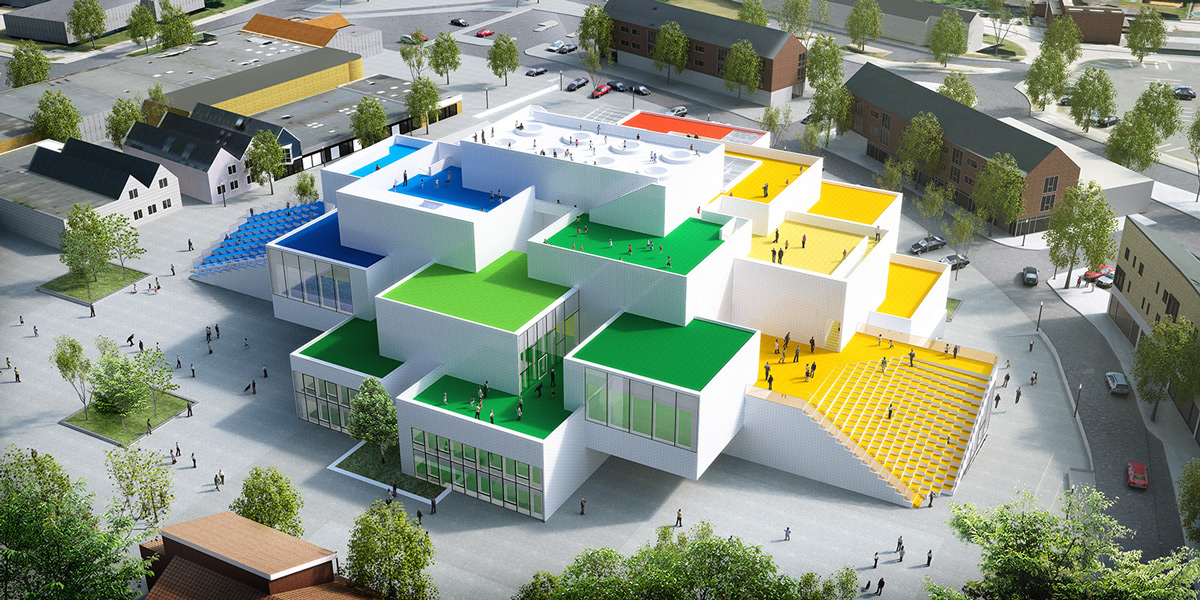 Twenty-One Colorful Cubes Compose Denmark's Newly Opened Lego House