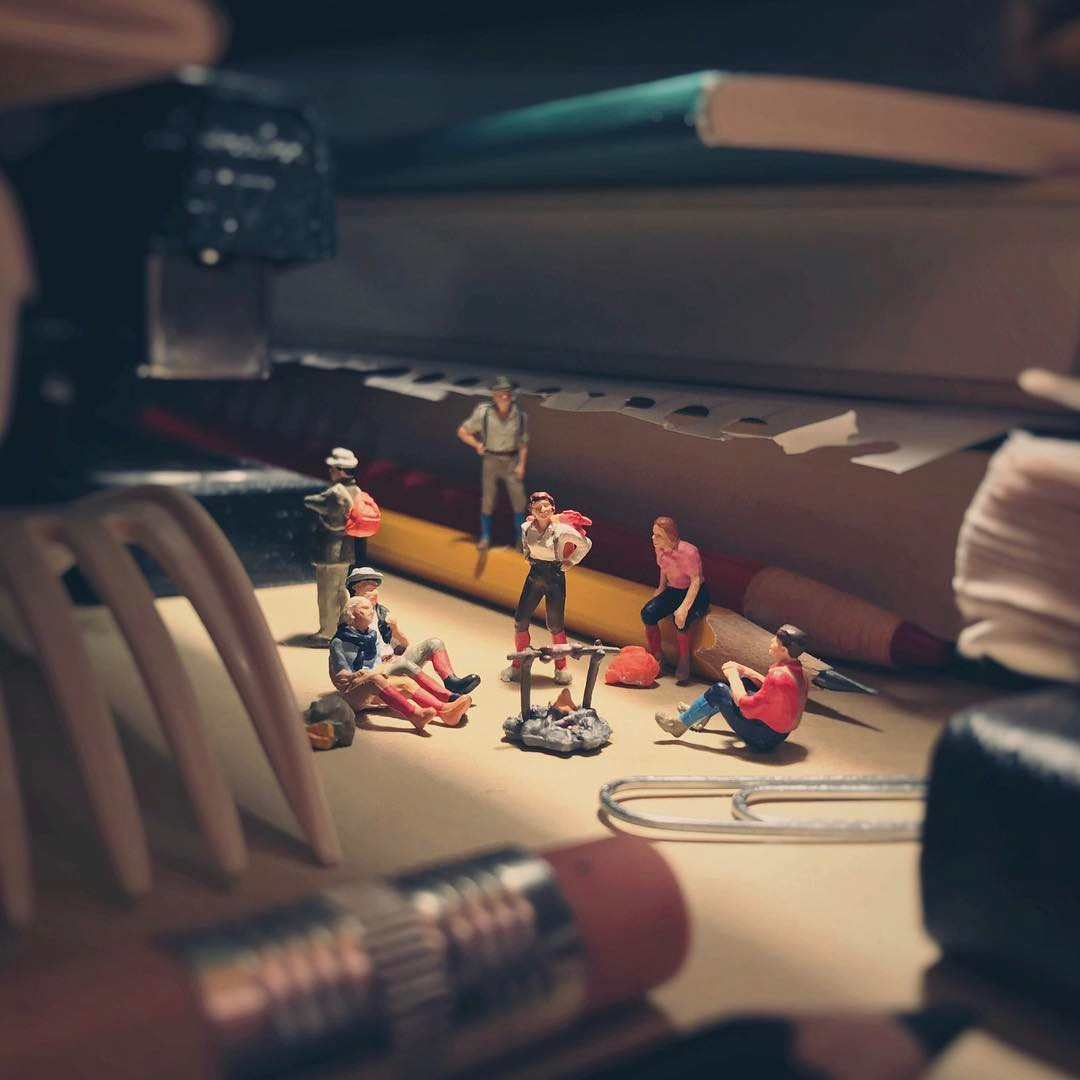 Cute Miniature Scenes Made with Office Supplies