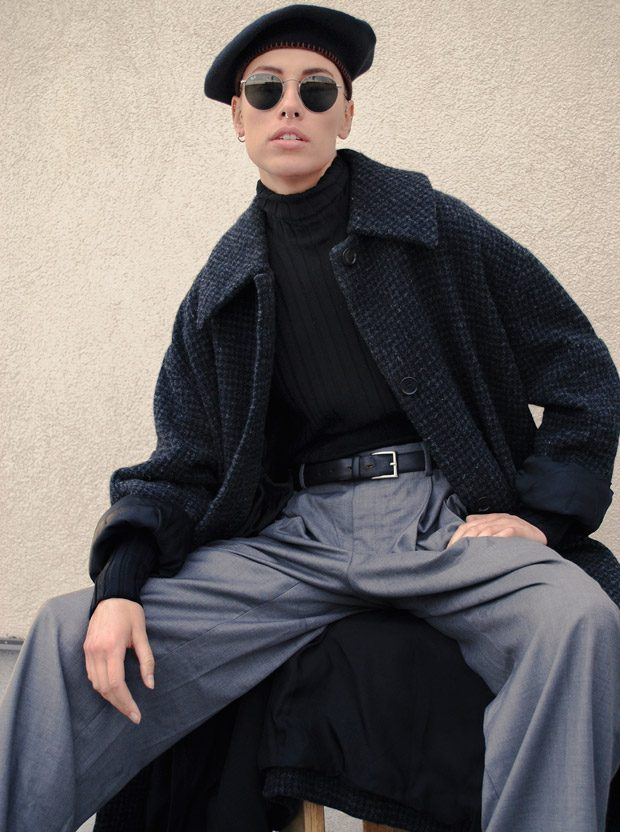 Hat: J. Crew Sunglasses: Rayban turtleneck & coat: Acne Studios trousers: Emporio Armani