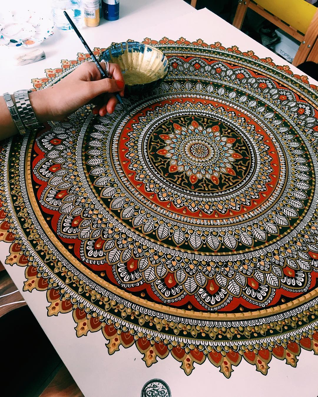 New Painted Mandalas Gilded with Gold Leaf by Artist Asmahan Rose Mosleh
