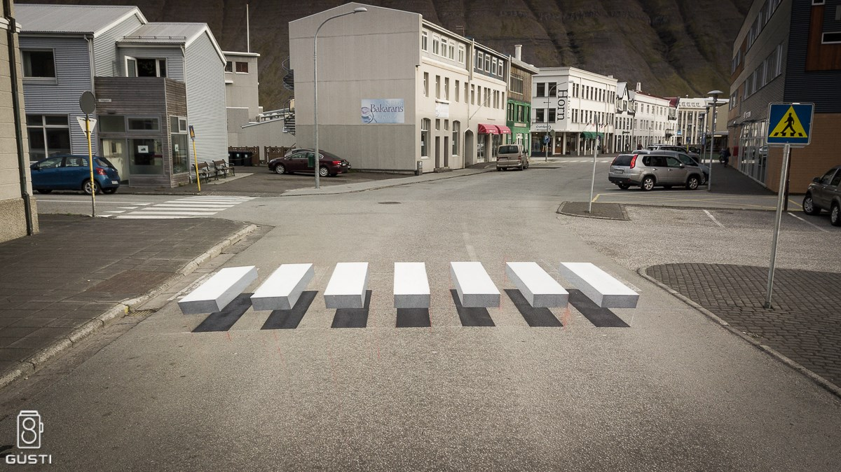 A 3D Zebra Stripe Crosswalk Appears in Iceland