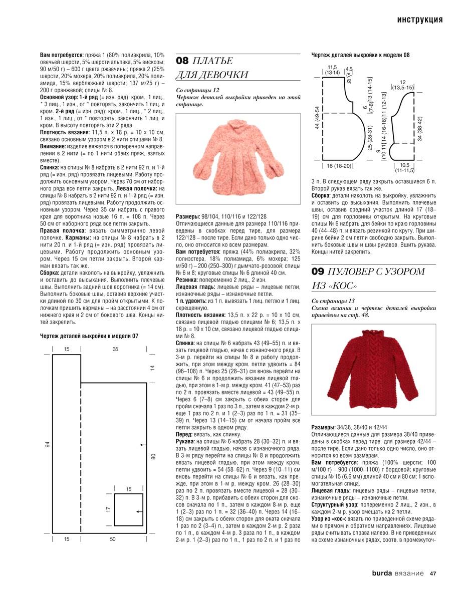 Образцы вязания на спицах со схемами из журнала бурда