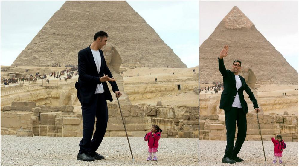 Самый высокий мужчина и самая маленькая женщина встретились в Каире