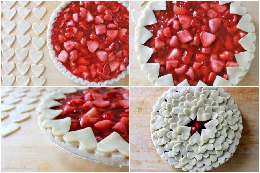 Пирог с клубникой и сердечками