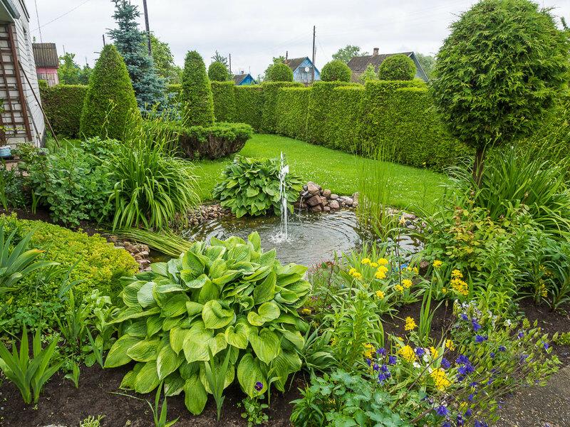 Во дворе у моих хозяев бьёт фонтан, а кусты подрезаны искусным садовником.