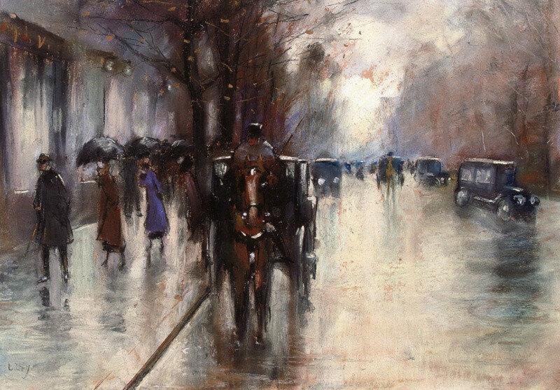 Унтер-ден-Линден в дождь. Лессер Ури 1920