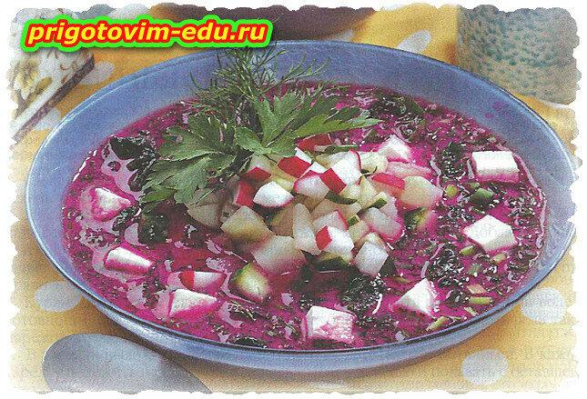Ботвинья с фетой и шпинатом