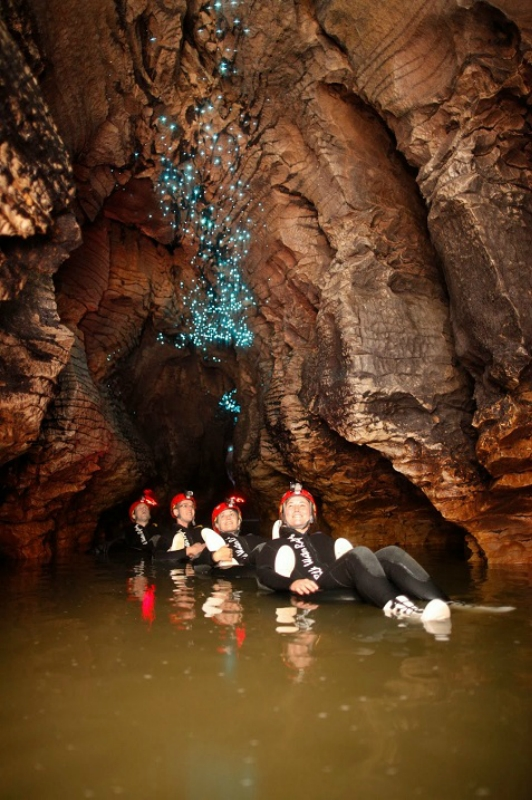 Cветлячки  в пещерах Вайтомо, Новая Зеландия.