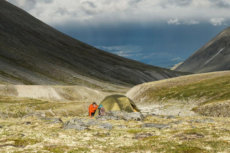 ночевка в палатке в горах Рондане (Rondane), Норвегия