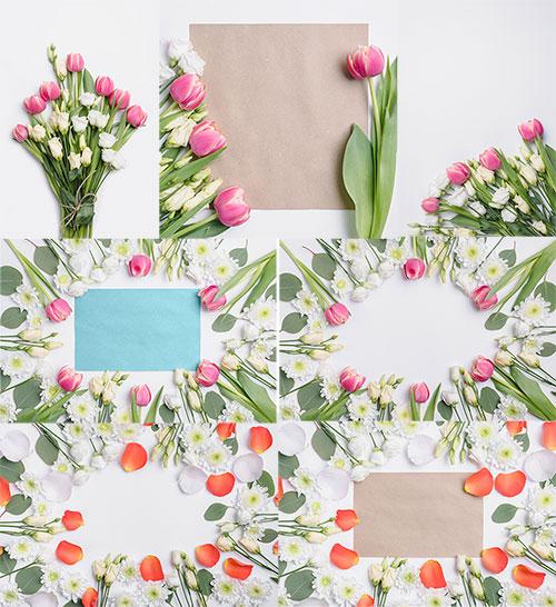 Букеты из роз и тюльпанов - Клипарт / Bouquets of roses and tulips - Clipart