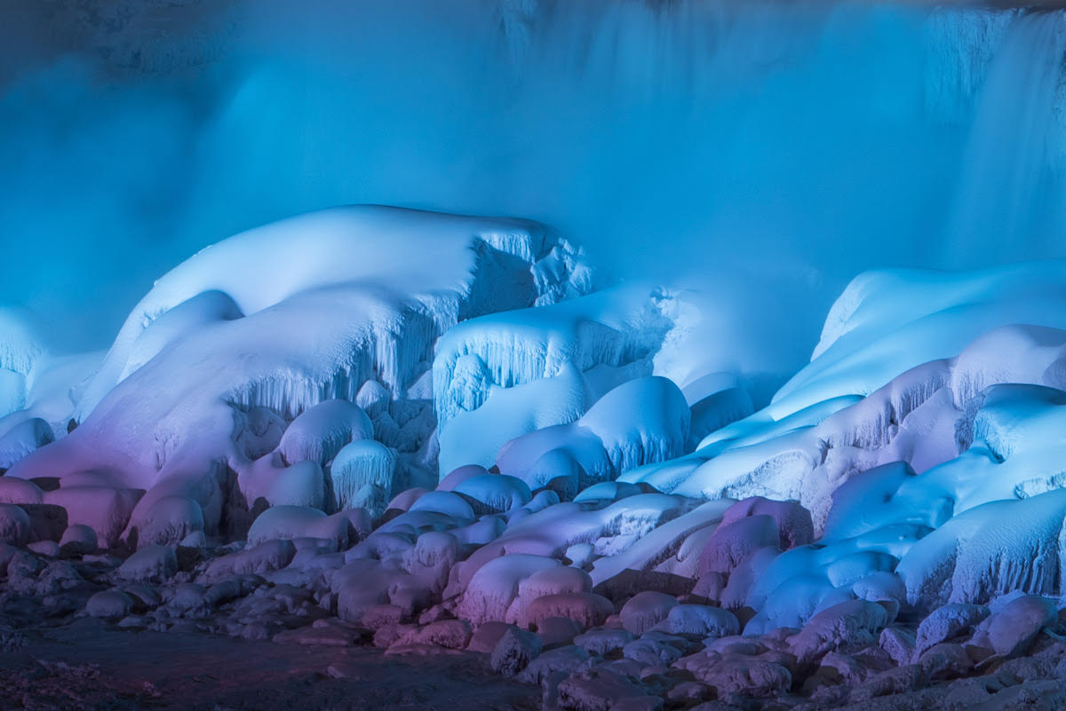 An Illuminated Niagara Falls Captured in a January Freeze by Adam Klekotka
