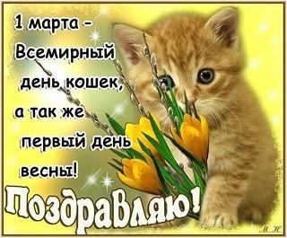 Картинка С первым днем весны! С днем кошек! Поздравляю открытки фото рисунки картинки поздравления