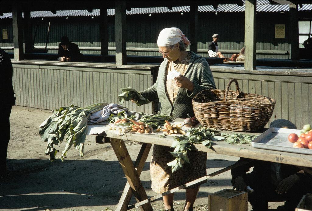 Russia, woman selling produce at Irkutsk market