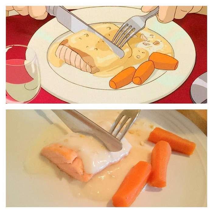 Бэнто для школьного обеда из «Моего соседа Тоторо». С маленькой сардинкой, рисом и горошком.