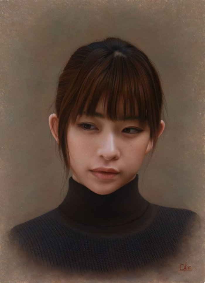 Живые девушки на полотнах Ясутомо Оки (16 фото)