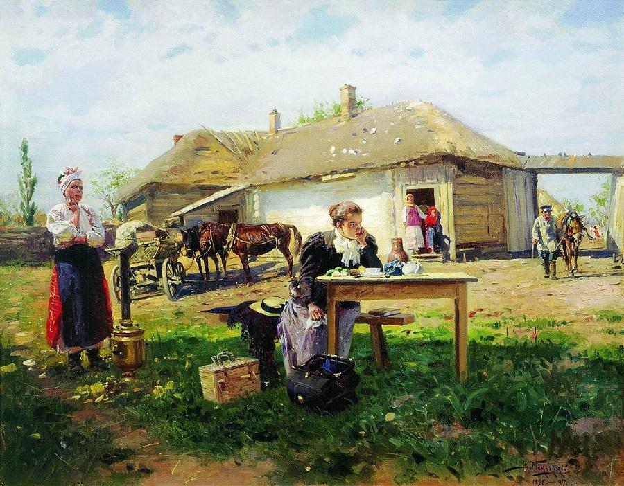 Приезд учительницы в деревню. 1896-1897 Государственная Третьяковская галерея, Москва.