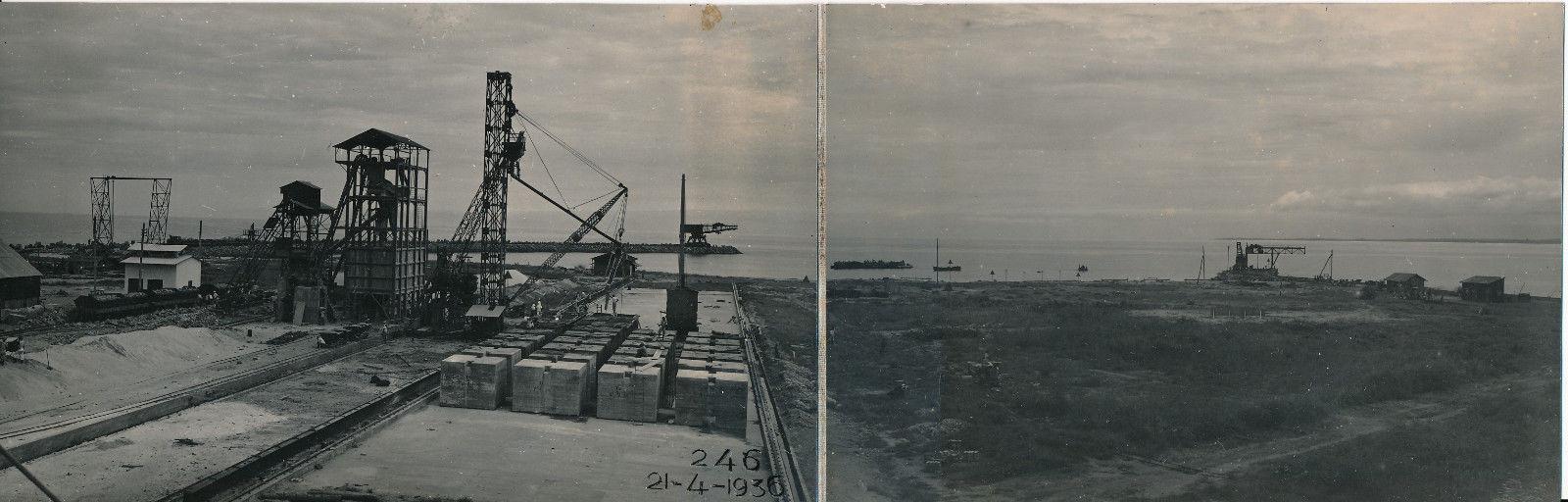 21.03.36. Панорамный вид на строительные площадки и работы. Блоки предназначены для строительства причала