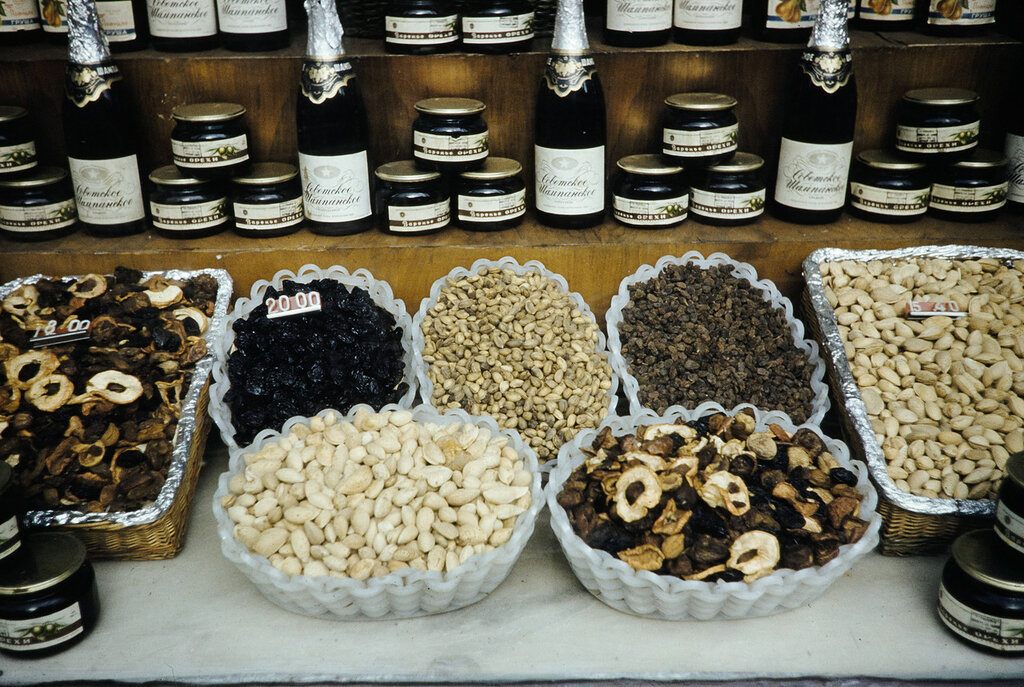 Russia, dried fruits and nuts displayed at store in Moscow