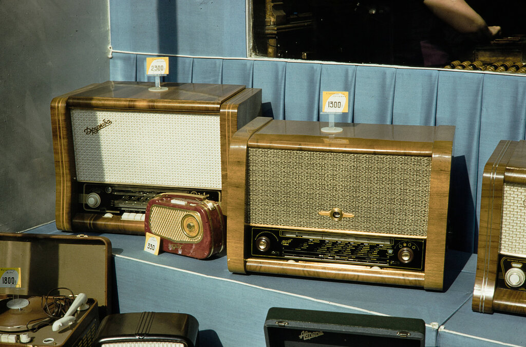 Russia, radios and record players for sale at department store in Moscow