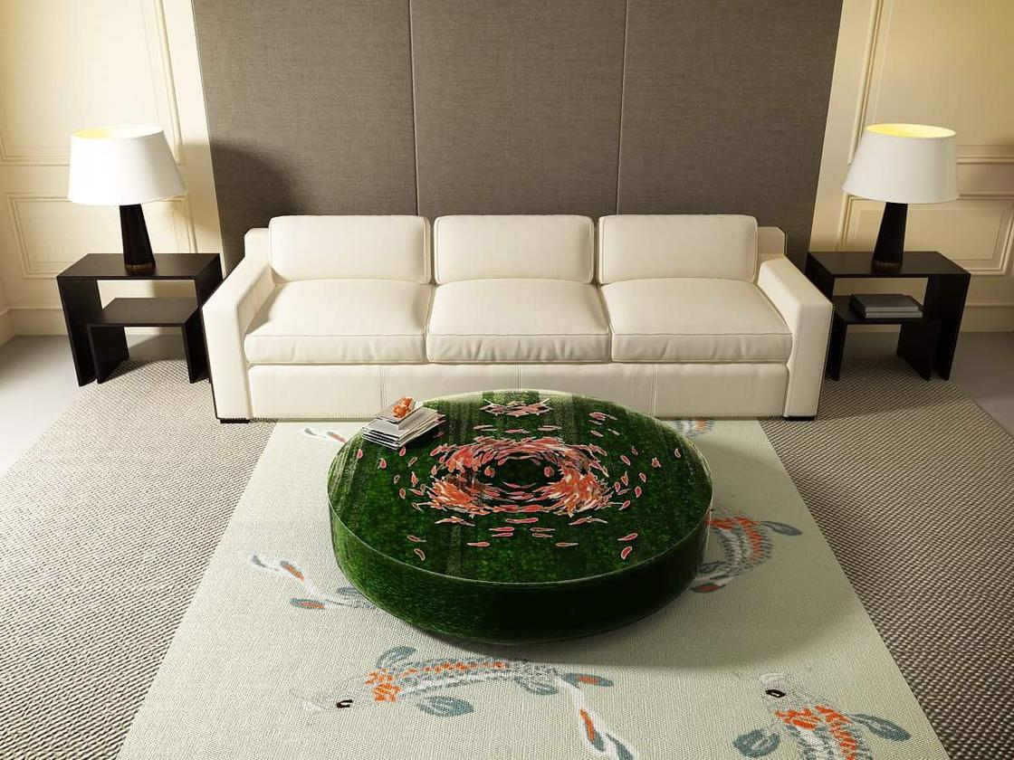 These amazing coffee tables create the illusion of a pond filled with fish