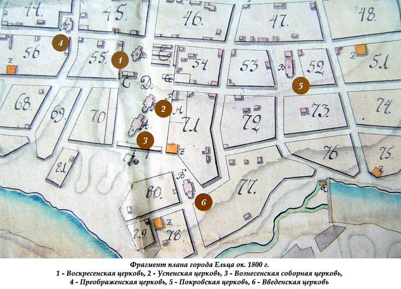 Фрагмент плана города Ельца ок. 1800 г.