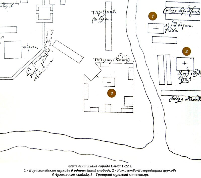 Фрагмент плана города Ельца 1722 г.