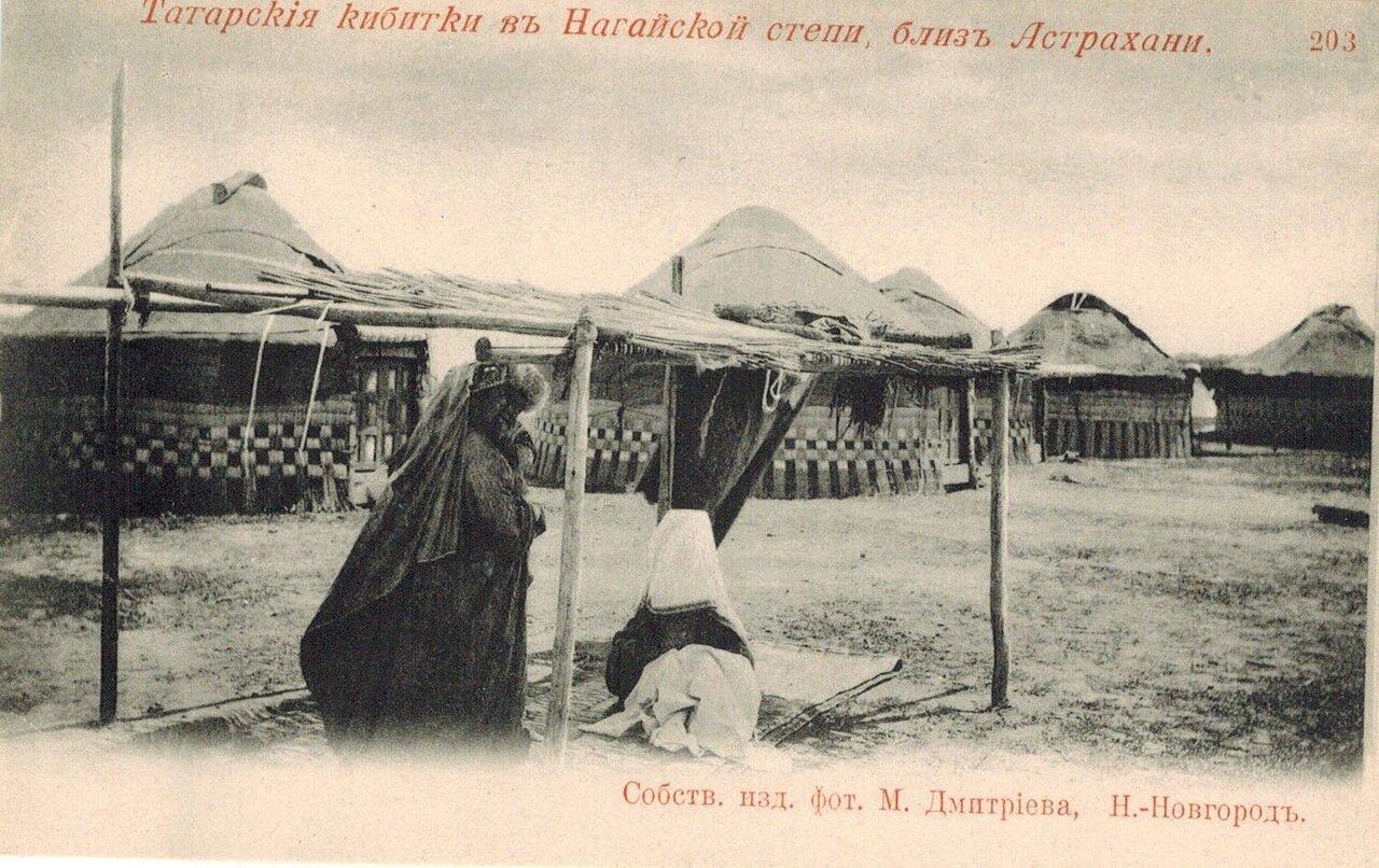 Окрестности Астрахани. Татарские кибитки в Ногайской степи