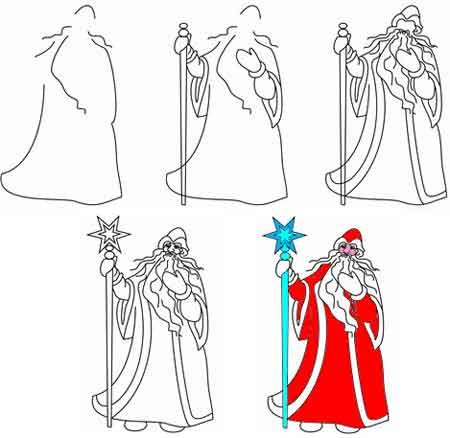 Как нарисовать Деда Мороза. День рождения Дедушки Мороза открытки фото рисунки картинки поздравления