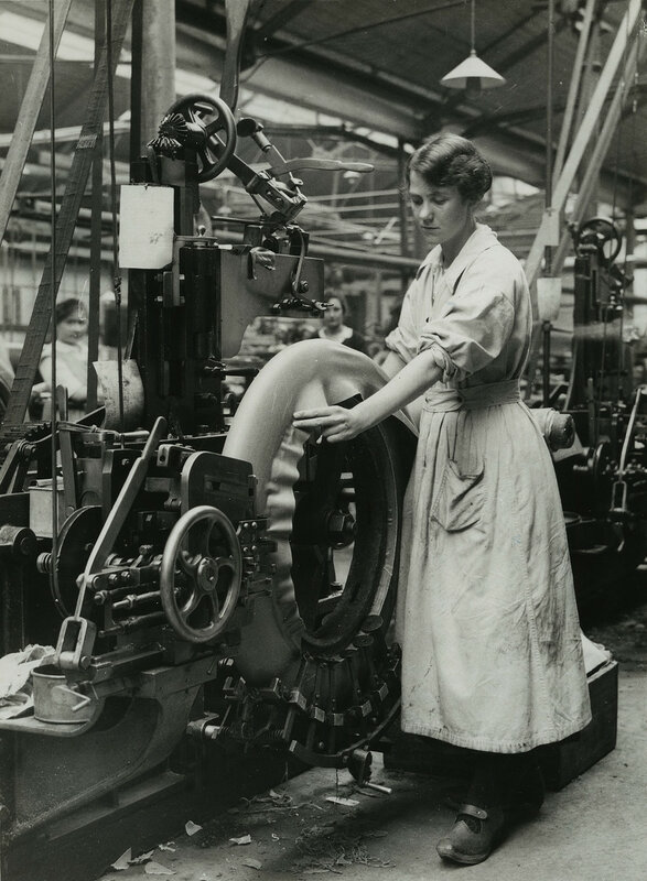 British women rubber workers in Lancashire forming the foundation for the tread