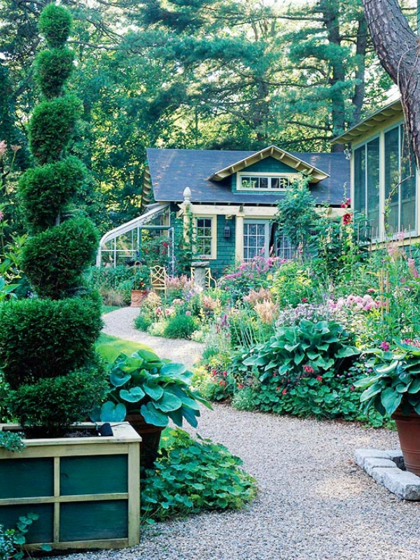 Ландшафт - Идеи оформления переднего дворика дома-Коттеджный стиль