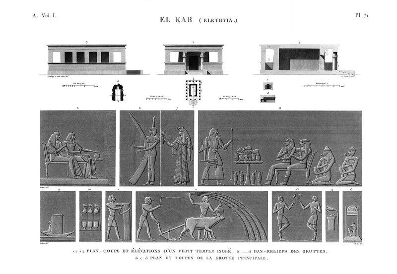 Крепость Нехеб, расположенная на правом берегу Нила, чертежи малого храма
