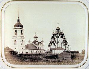 Вид на церковь и колокольню Вытегорского погоста (на берегу реки Вытегры). Вытегра