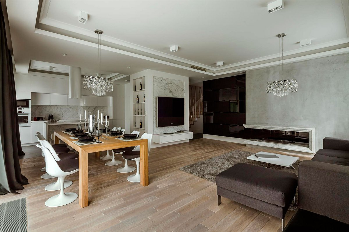 Hola Design, двухуровневые апартаменты, дизайн интерьера роскошной квартиры, квартира в Варшаве, стильный интерьер квартиры фото, проекты Hola Design