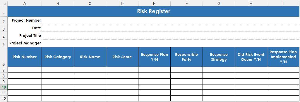Рис. 1. Шаблон реестра рисков