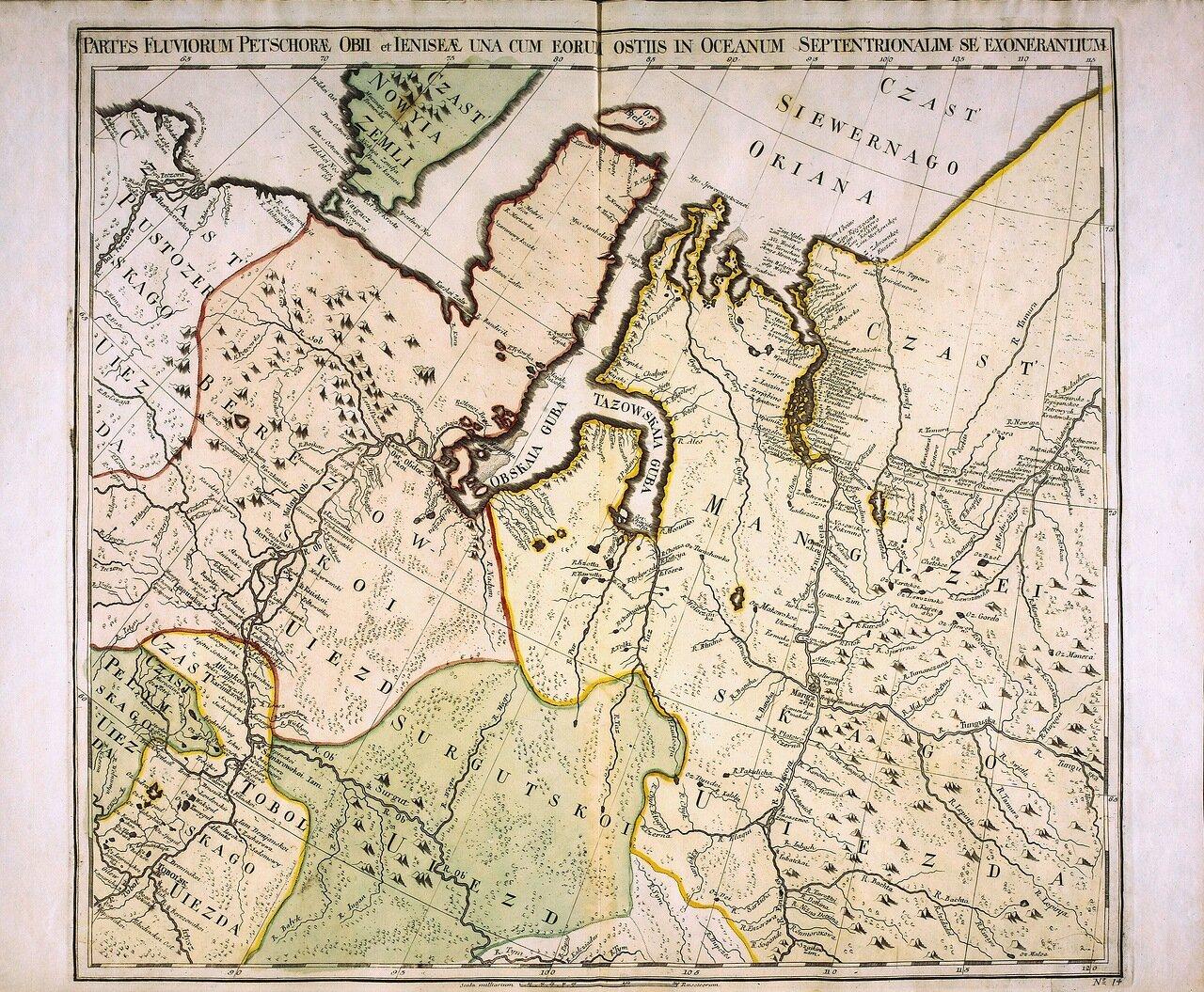 1745. Partes fluviorum Petschoræ Obii et Ieniseæ una cum eorum ostiis in oceanum septentrionalim se exonerantium