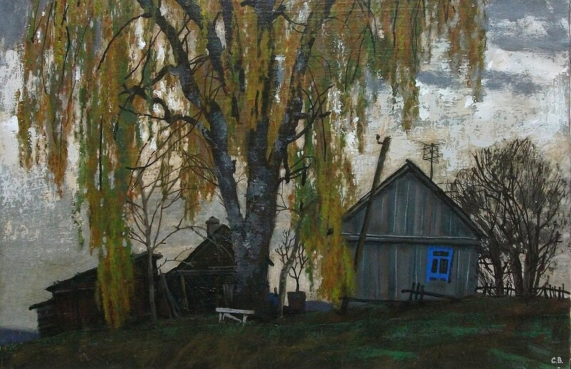 Пейзаж с белой скамейкой.2006г.45х28.темпера.